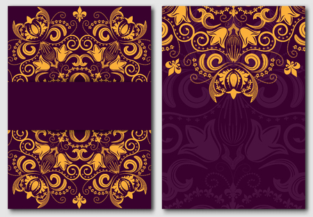 Set of ornate template for design invitations and greeting cards. Gold flower mandala on a purple background in the Damascus style. Vector illustration.