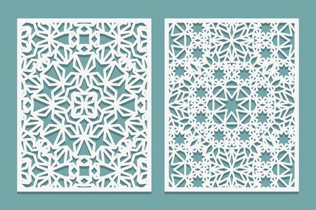 Illustration pour Laser cutting set Islamic style. Woodcut trellis panel. Plywood laser cut eastern design. Pattern for printing, engraving, paper cutting. Stencil lattice ornament. Vector illustration. - image libre de droit