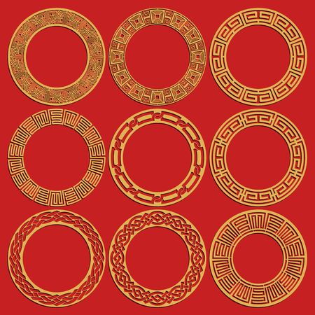 Illustration pour Round chinese frames set isolated on red background. Geometric circular oriental ornaments. Vector illustration - image libre de droit