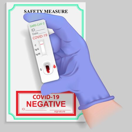 Illustration pour Hand in medical glove holding rapid test for antibodies to coronavirus with negative result. Diagnostics Covid 19 virus. No infectious disease Sars 2019-nCoV. Vector illustration - image libre de droit