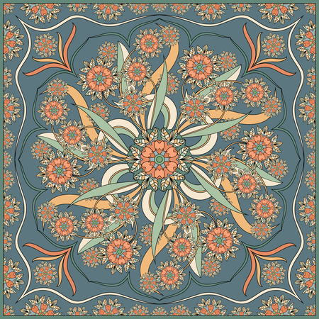 Detailed floral pattern for scarf, shawl, carpet or embroidery. Vector illustration.