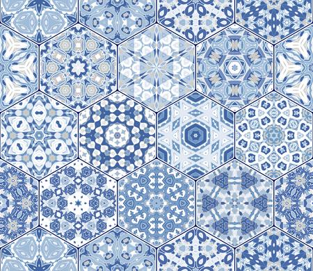 Ilustración de A Seamless hexagonal mosaic tiles in vector set. Oriental and ethnic motifs in design patterns. - Imagen libre de derechos