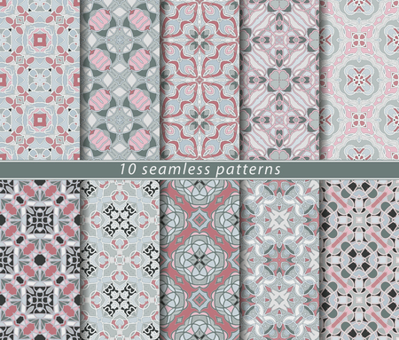 Ten seamless patterns. Symmetrical rectangular ornament in ethnic style. Arabic florid motif.