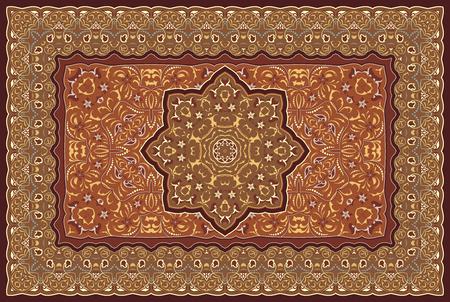 Illustration pour Vintage Arabic pattern. Persian colored carpet. Rich ornament for fabric design, handmade, interior decoration, textiles. Red background. - image libre de droit