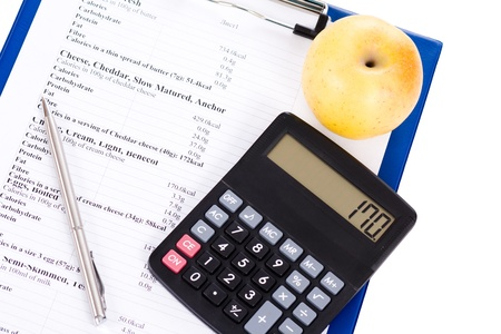 Table of calories, an apple and a calculator