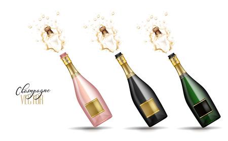 Illustration pour Realistic champagne explosion - image libre de droit