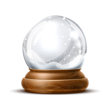 Ilustración de Vector christmas snowglobe on isolated background. Realistic traditional winter holiday decoration crystal with snow, snowflakes inside. Xmas magical toy, empty sphere, 3d illustration - Imagen libre de derechos