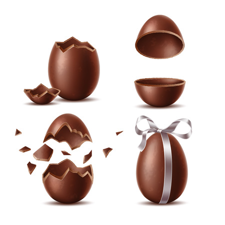 Illustration pour Realistic chocolate eggs set. Broken, exploded eggshell, two halves and whole egg with bow. Sweet easter holiday symbol. Vector dessert made of dark cocoa. Restaurant, cafe menu, celebration design. - image libre de droit