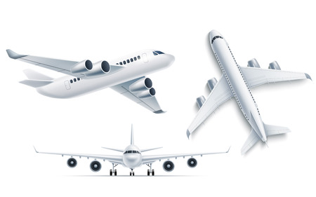Illustration pour Realistic airplane mockup top, front view 3d . Symbol of travelling and tourism. Airline jet, aviation transportation charter. Modern airliner with turbines. Passenger aircraft, vector illustration - image libre de droit