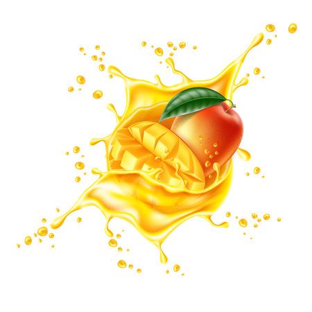 Illustration for Vector realistic mango leaf slice juice splash - Royalty Free Image