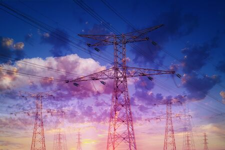 Photo for High voltage electrical wire towers against a dramatic sky. Double exposure effect. - Royalty Free Image