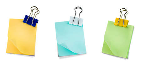 Photo pour three notes on a metal clip. isolated white background - image libre de droit