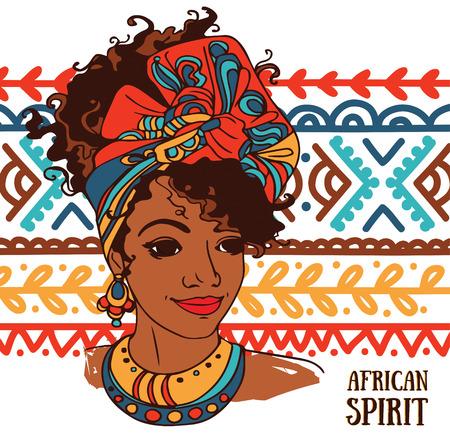 Ilustración de beautiful African American woman on beautiful ornament, vector illustration - Imagen libre de derechos