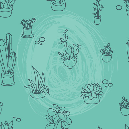 Seamless pattern of cute potted plants, funny cartoon icons, vector illustration