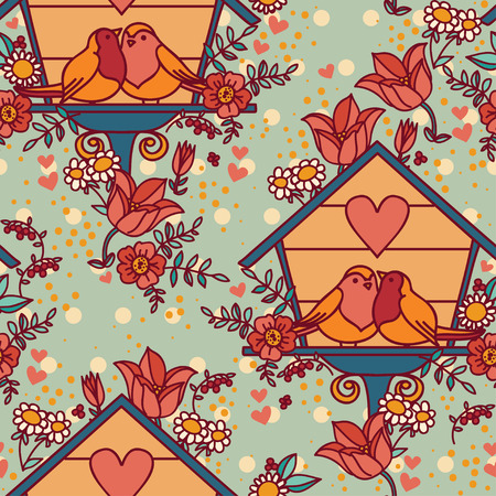 seamless pattern with lovely birds couple in birdhouseのイラスト素材
