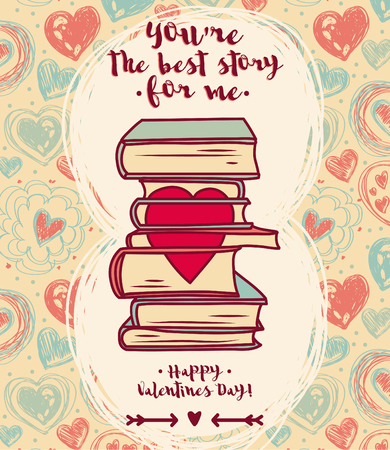 Cute card for valentines day, doodle stack of books with heart, vector illustration