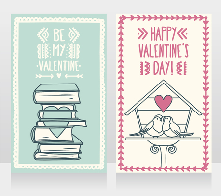 Cute cards for valentines day, doodle stack of books with heart and birds couple, vector illustration