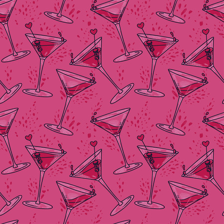 Ilustración de seamless pattern with cocktails and hearts, can be used for valentine's day party or for bachelorette party, vector illustration in sketch style - Imagen libre de derechos