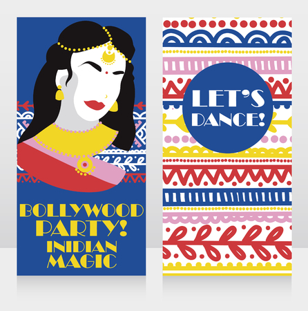 Illustration for Cards for bollywood party with colorful lady and ethnic colorful ornament - Royalty Free Image