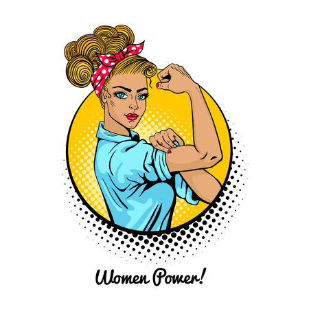 Illustration pour Women Power. Pop art sexy strong blonde girl in a circle on white background. Classical american symbol of female power, woman rights, protest, feminism. Vector colorful illustration in retro comic style. - image libre de droit