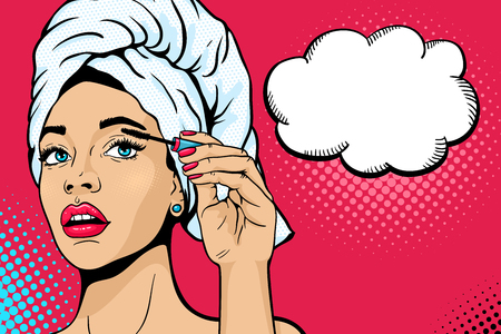 Pop art makeup. Closeup of sexy girl in bath towel on her head paints her eyes with mascara in her hand. Vector colorful background in comic retro pop art style. Cosmetics applying on female face.
