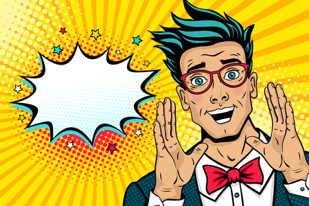 Illustration pour Wow pop art male face. Surprised happy young man in suit, bow tie and glasses with open mouth rises hands screaming announcement. Vector illustration in retro comic style. Party invitation poster. - image libre de droit