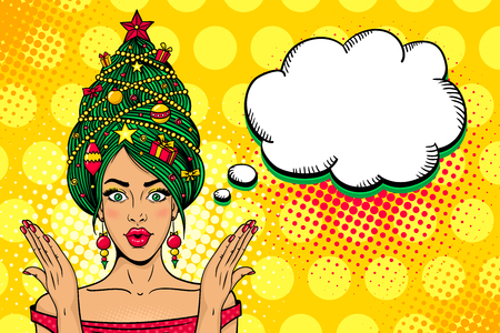 Illustration pour Wow pop art Christmas face. Young sexy surprised woman with open mouth, New Year tree on a head rises her hands . Vector bright illustration in retro comic style. New Year party invitation poster. - image libre de droit