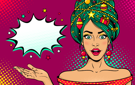Illustration for Wow pop art New Year face. Young sexy surprised woman with open mouth, Christmas tree on head rises her hand. Vector bright illustration in retro comic style. Merry Christmas party invitation poster. - Royalty Free Image