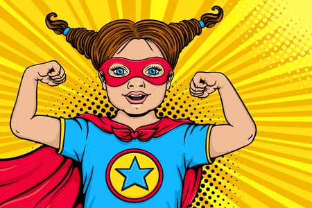 Ilustración de Wow child face. Cute surprised blonde little girl dressed like superhero with open mouth shows her power and strength. Vector illustration in retro pop art comic style. Kids party nvitation poster. - Imagen libre de derechos