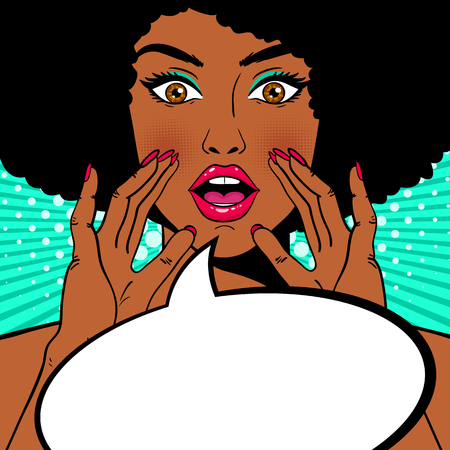 Ilustración de Wow female face. Sexy surprised african american woman holding her hands open mouth and screaming and speech bubble. Vector colorful background in pop art retro comic style. Party invitation. - Imagen libre de derechos
