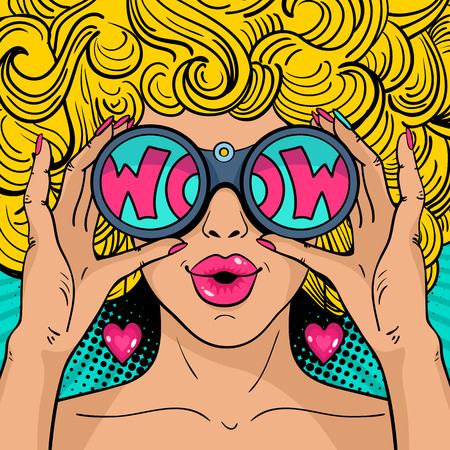 Ilustración de Wow pop art face. Sexy surprised  woman with blonde curly hair and open mouth holding binoculars in her hands with inscription wow in reflection. Vector colorful background in pop art retro comic style. - Imagen libre de derechos