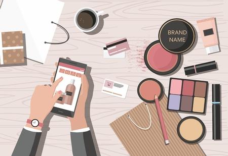 Illustration pour Make-up products on the table. Online beauty shop. Vector Illusrtation - image libre de droit