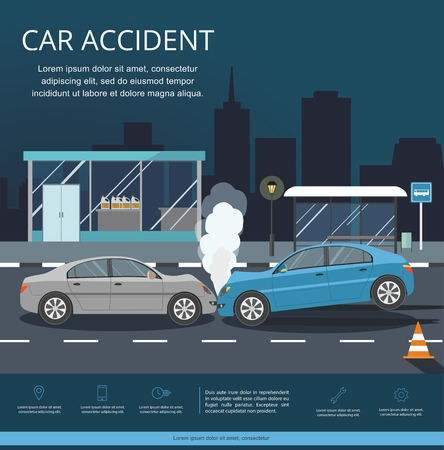 Illustration pour Accident with two cars on the road. Transporation Infographic. Night city - image libre de droit