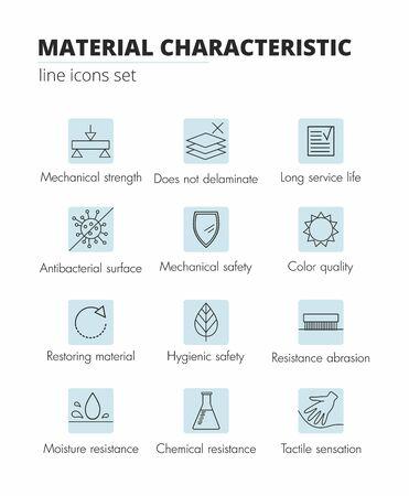 Illustration pour Material and fabric properties lines icons set. Vector Illustration - image libre de droit