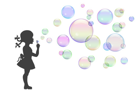 illustration, girl playing with colorful soap bubbles.