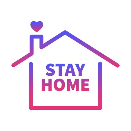 Illustration pour Stay Home, Heart, Home. Coronavirus Covid 19. Isolated Vector Sticker Symbol on White background - image libre de droit
