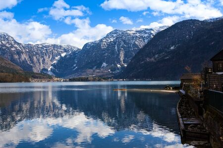 Photo for View idyllic Alpine mountains and lake. Sunny winter morning in Hallstatt, Austria, Europe - Royalty Free Image