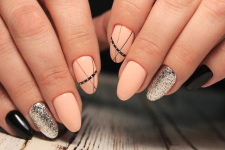 Foto de glamorous manicure nails on beautiful female hands - Imagen libre de derechos