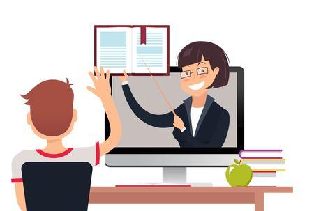 Illustration pour Vector illustration of teacher with book on computer screen. Online education concept. - image libre de droit