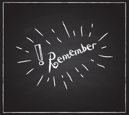 Illustration pour The word Remember sketching on the blackboard. Vector Illustration - image libre de droit