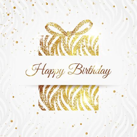 Ilustración de Happy birthday elegant card with golden gift and  bow. Birthday gold greeting card. Vector illustration - Imagen libre de derechos