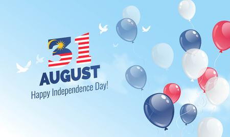 Illustration pour 31 August. Malaysia Independence Day greeting card. Celebration background with flying balloons and blue sky. Vector illustration - image libre de droit