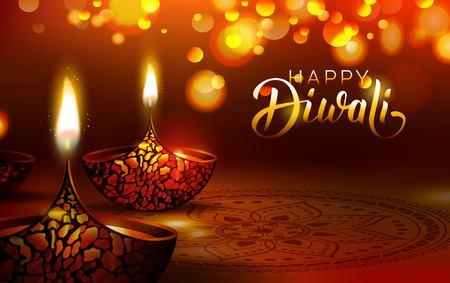 Illustration pour Diwali festival poster. DIwali holiday shiny background with diya lamps and rangoli. Vector illustration - image libre de droit