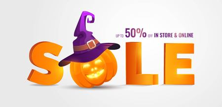 Illustration pour Halloween Sale banner with big 3d letters Sale and holiday symbols pumpkin and witch hat. Great for banner, voucher, offer, coupon, holiday sale. Vector illustration - image libre de droit