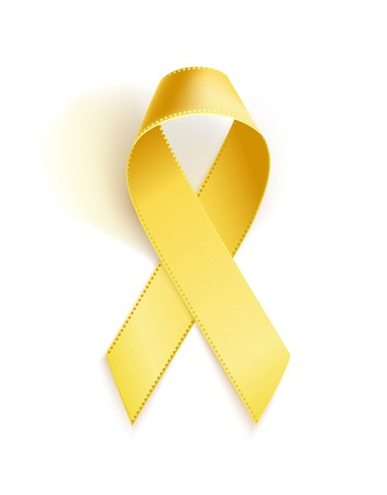 Illustration pour Childhood Cancer Awareness Ribbon. Realistic yellow ribbon, childhood cancer awareness symbol, isolated on white. Vector illustration - image libre de droit