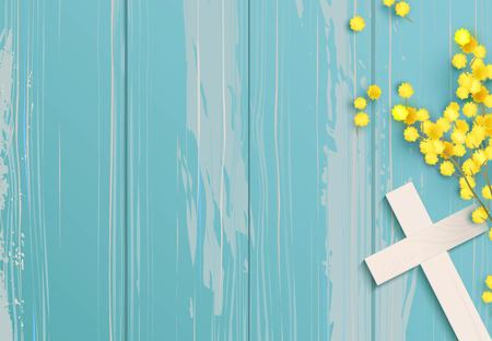 Illustration pour White cross and mimosa on blue rustic wooden background. - image libre de droit