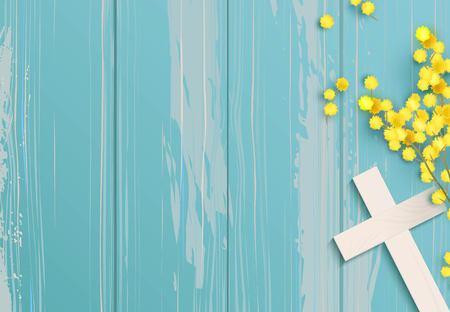 Ilustración de White cross and mimosa on blue rustic wooden background. - Imagen libre de derechos