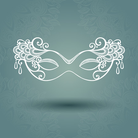 Beautiful Masquerade Mask  Vector  on Ornate Background