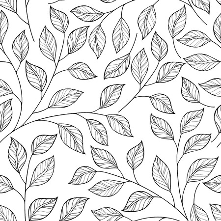 Vector Seamless Contour Floral Pattern. Hand Drawn Monochrome Floral Texture, Decorative Leaves, Coloring Book