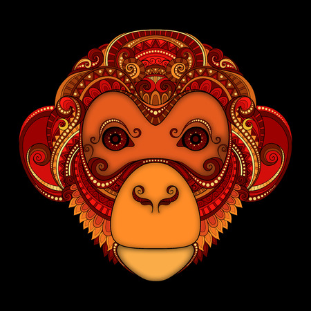 Vector Ornate Red Monkey Head. Patterned Tribal Colored Design. Symbol of the Year 2016 by C